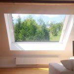 Dachschiebefenster LI - zweiflügelig - auf Dach Innenansicht geöffnet